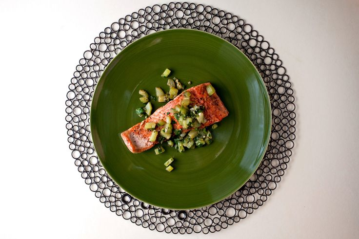 A gorgeous salmon fillet needs little more than a sprinkling of salt and pepper and a few minutes of gentle sautéeing in melted butter. Go one quick step further and add minced garlic, chopped cucumber and dill to the pan. The cucumber turns nutty in the pan's brown butter, with a tender exterior that remains crunchy in the middle — a nice contrast to the silky salmon. (Photo: Andrew Scrivani for The New York Times)