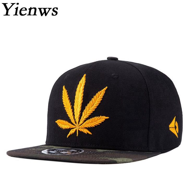 Yienws Weed Hat Straight Brim Male Brand Baseball Cap Youth Hip Hop Snapback Gorras Planas Black Camouflage Full Cap YIC467