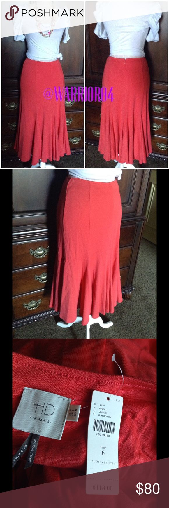 "Anthropologie Trumpet Skirt Coral Red/Verm NWT Anthropologie Trumpet Skirt Coral Red/Verm NWT HD in Paris Please note this is a CORAL Red Lyocell knit Flared hem Back zip Machine wash Imported Style No. 4120580812525 Dimensions Regular: 22""L Anthropologie Skirts"