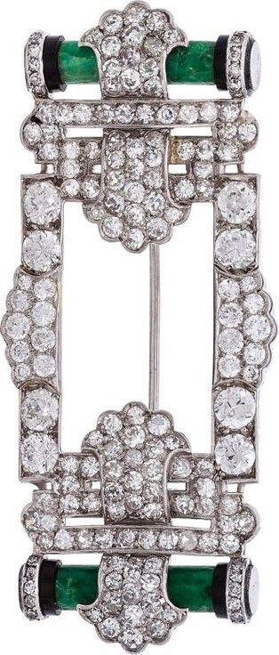 CARTIER Art Deco Diamond, Jadeite Jade, Black Onyx, Platinum Brooch,Cartier.