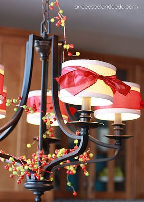 75 best ideas for christmas chandeliers images on pinterest tie ribbon around chandelier shades lots of application aloadofball Gallery