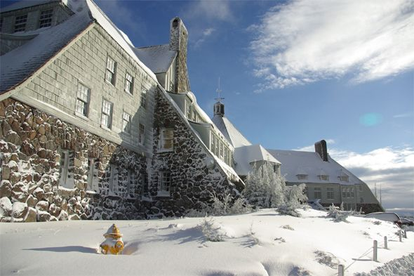 (PHOTO: The Timberline Lodge/Trivago)  Spooky hotels from horror films  Would you stay in these scary hotels for Halloween?:  2. The Timberline Lodge, Oregon, USA (The Overlook Hotel in The Shining, 1980)  One of the most famous and most chilling pieces of fiction set in a hotel is Stephen King's The Shining. The Timberline Lodge was the perfect fit – the hotel's beautiful mountainous setting and remote location were key for capturing the isolation of the fictional Overlook Hotel...