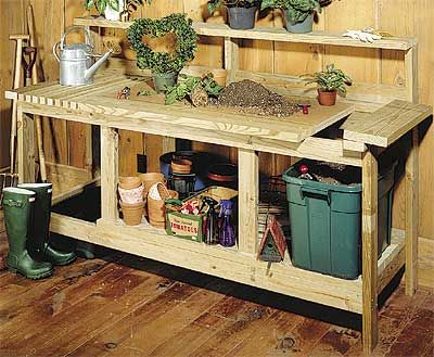Woodworking project plan garden potting bench gardening pinterest gardens potting bench Potting bench ideas