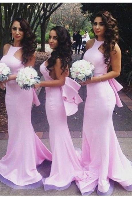 Sexy Sereia Jewel mangas Andar de comprimento vestido de dama de honra rosa com babados