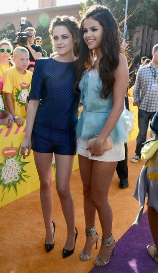 Highlights From the 2013 Nickelodeon Kids Choice Awards: Selena Gomez linked up with an Osman-clad Kristen Stewart on the orange carpet.