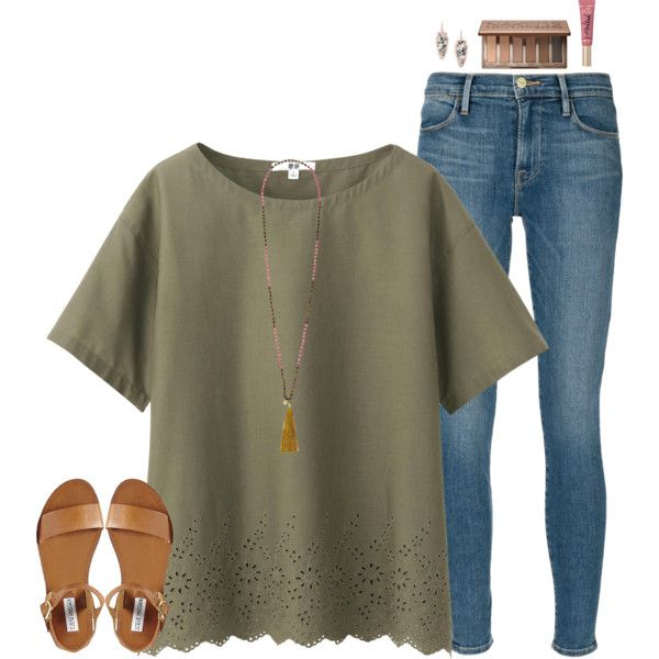 A fashion look from August 2016 featuring Uniqlo blouses, Frame Denim jeans and Steve Madden sandals. Browse and shop related looks.