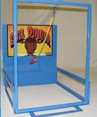 Bull Ringer. Swing the ring onto the hook. 22 deep x 19 wide x 23 tall. Thats tiny. I thought this was freestanding on the ground, but at 2 feet wide & tall its a tabletop game instead. $299.00 at Best Carnival Games, 5/27/15