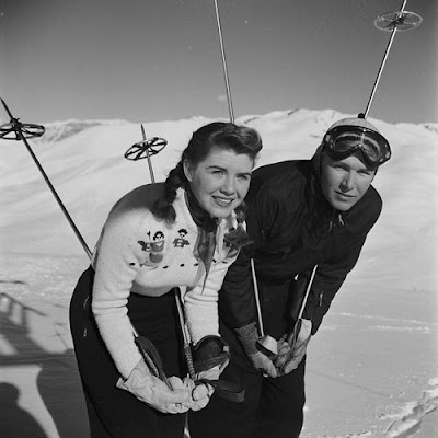 Her sweaters and braids are so cute! #vintage #skiing #winter #sports