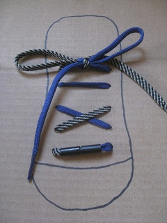Teaching children fine motor skills, memory, and an ADL. Tying shoe laces