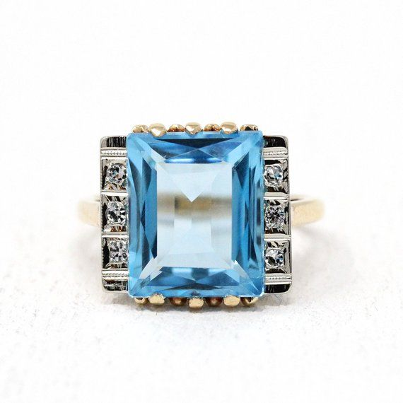 Blue Topaz Ring Vintage 10k Yellow Gold 7 77 Ct Swiss Blue White Stone Jewelry Blue Topaz Jewelry Blue Topaz Ring