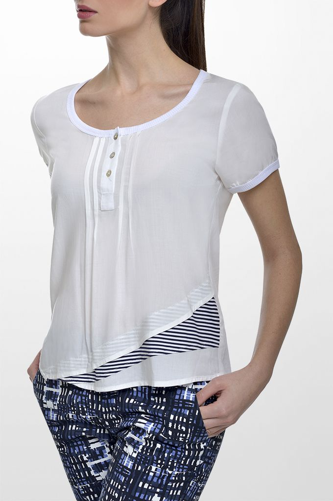 Sarah Lawrence - short sleeve blouse with striped details, cropped printed pant.