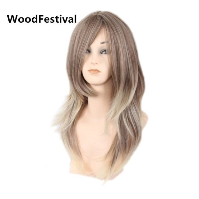 Synthetic Wigs Hair Extensions & Wigs Real Picture Woodfestival Cosplay Hair Wig Black Brown Long Straight Wig Bangs Synthetic Wigs Women Heat Resistant