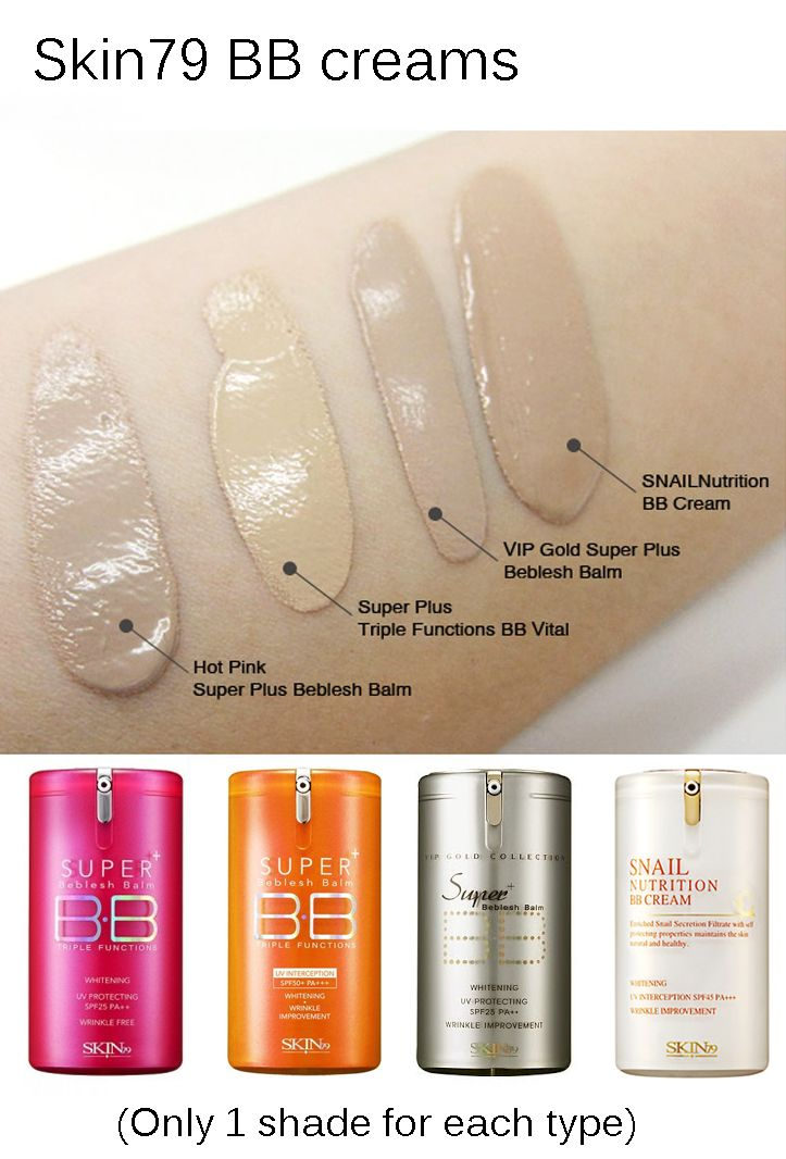 Skin79 BB cream swatches. There's only one shade available for each type, but they oxidize to match most skin tones well, especially pale skin tones.