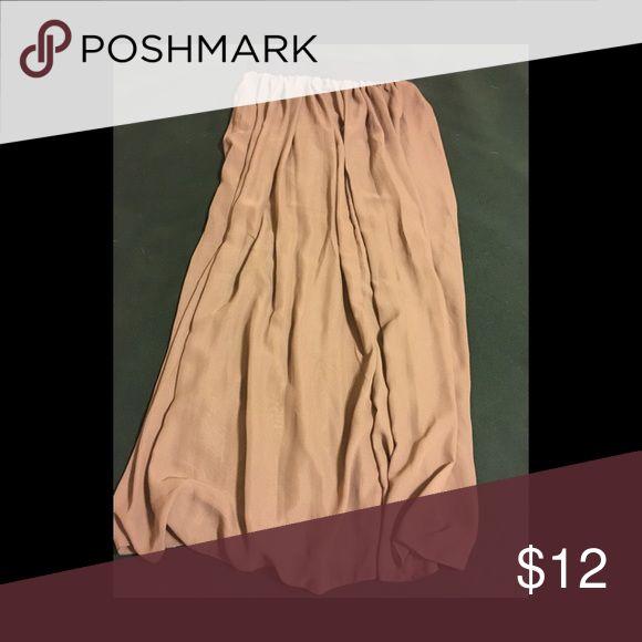 Beige Sheer Maxi Skirt Never worn- has black stretch waist band Skirts Maxi