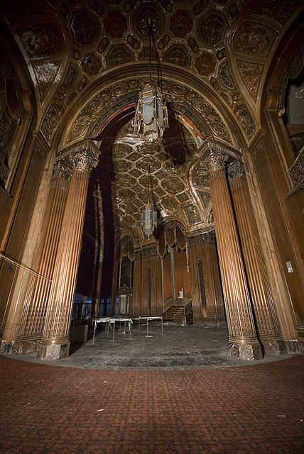 """Abandoned theater in New York City. Brooklyn's King Theater was once one of the country's grandest movie theaters. The theater opened on Flatbush Ave in 1929 and was one of five """"Loew's Wonder Theaters"""" in New York. The theater closed in 1977 and has been abandoned ever since. Now being restored- it is set to reopen in 2015."""