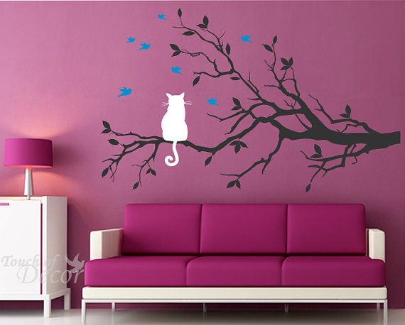 I love this wall tattoo.: Work Rooms, Pink Rooms, Little Girls Rooms, Removal Vinyls, Vinyls Wall Decals, Guest Rooms, Sit Rooms, Cat Sit, Black Cat
