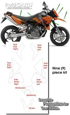 InvisiGARD Invisible Clear Paint & Headlight protection kits for KTM 950 Supermoto