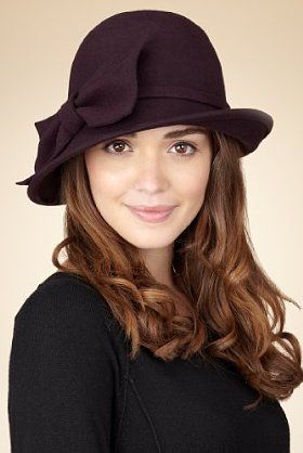 Pure Wool Bow Cloche Hat | Aubergine | Marks & Spencer | £25.00