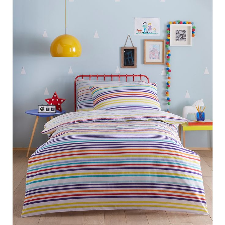 Kids' multicoloured striped duvet cover and pillow case set