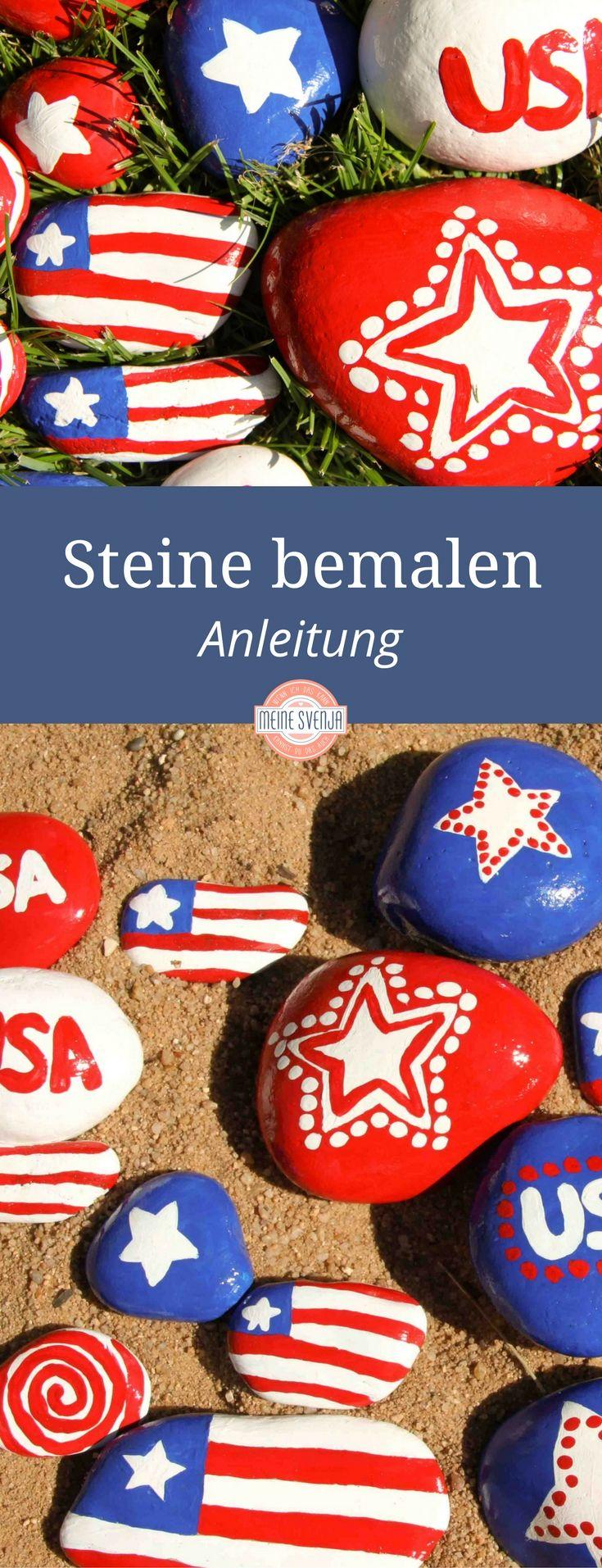 Steine bemalen mit Kindern zum 4. Juli - Independence Day craft for kids at: http://www.meinesvenja.de/2011/06/29/steine-bemalen/