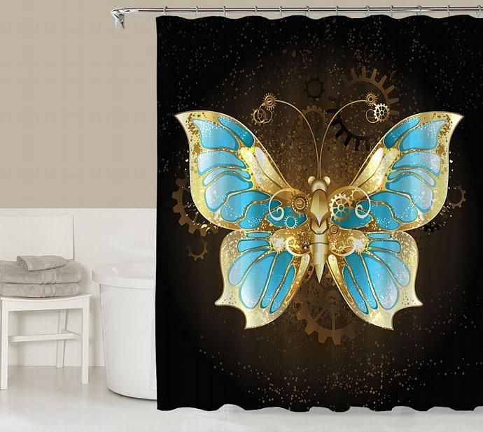 Fantasy Shower Curtain, Contemporary Bathroom Decor, Gold, Blue And Black  Shower Curtain, Bathroom Accessories, Steampunk Butterfly
