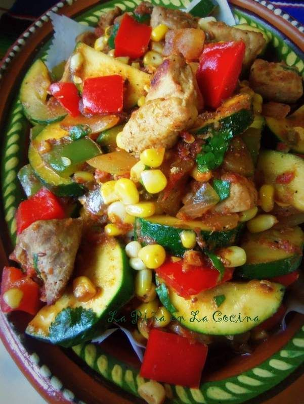 Carne de Puerco Con Calabacitas y Elote- Pork with Zucchini and Corn