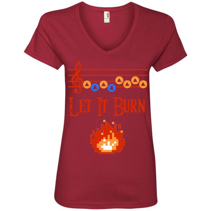 Let it Burn Song of Fire Ladies' V-Neck T-Shirt