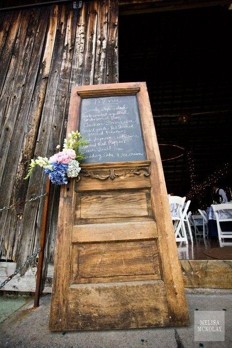 Love this old door...wedding menu, table seatings... by melva