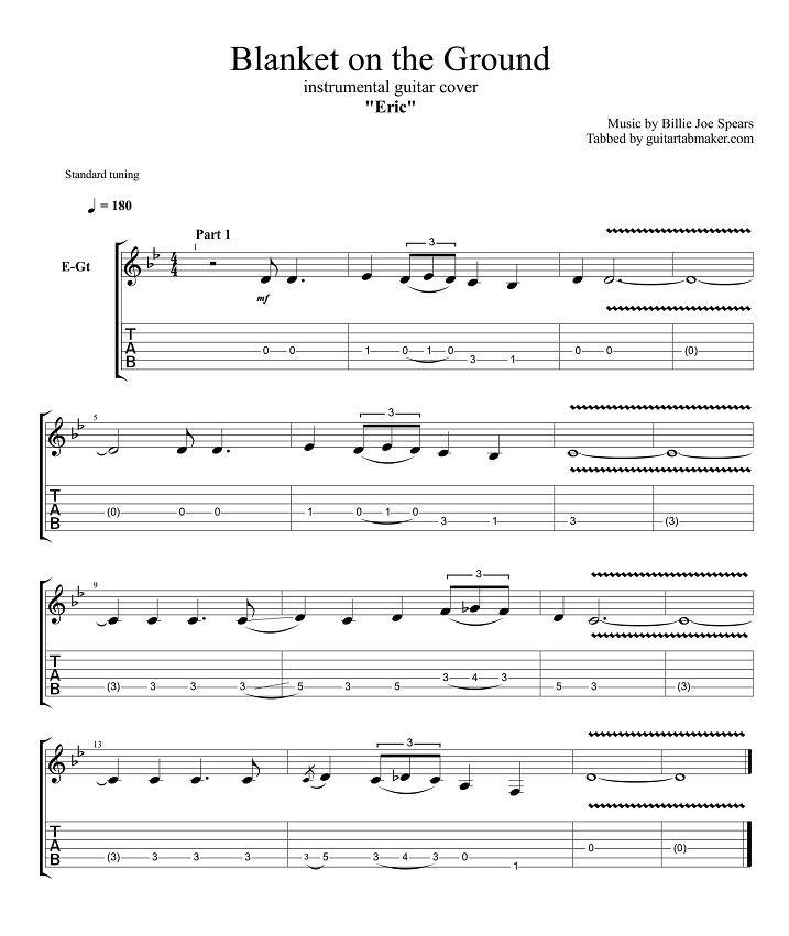 Blanket on the Ground guitar tabs - instrumental guitar tab (easy) - pdf guitar sheet music - guitar pro tab download