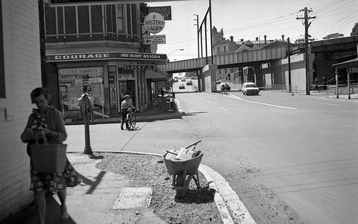 1969. Canterbury Road - rail overpass east from Rochester Road. VicRoads Centenary 1913-2013.