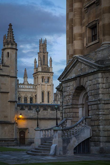 Oxford Evening. Radcliffe Camera to the right and All Souls College spires straight ahead.