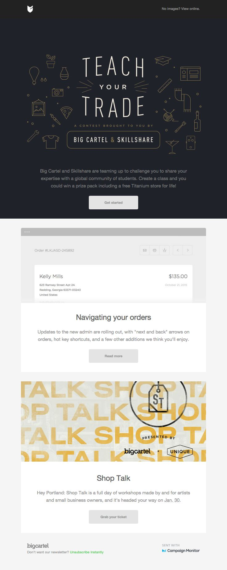 209 best cool email template designs images on pinterest email big cartel sent this email with the subject line teach your trade contest new email designemail template pronofoot35fo Images