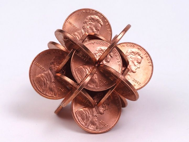 "Geometric sculptures ""Money"" by Robert Wechsler. Interlocked Coins Form Complex Geometric Sculptures - My Modern Metropolis"