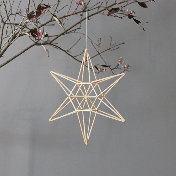 natural straw modern mobile  star himmeli by AMradio on Etsy, $55.00