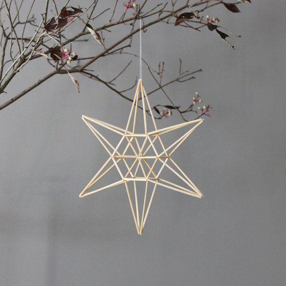 natural straw modern mobile  star himmeli by AMradio on Etsy, $55.00