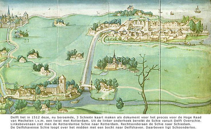 """1512 Kaart """"De Drie Schieën"""" met in het midden de """"Delftshavensche Schie"""" richting Delfshaven."""