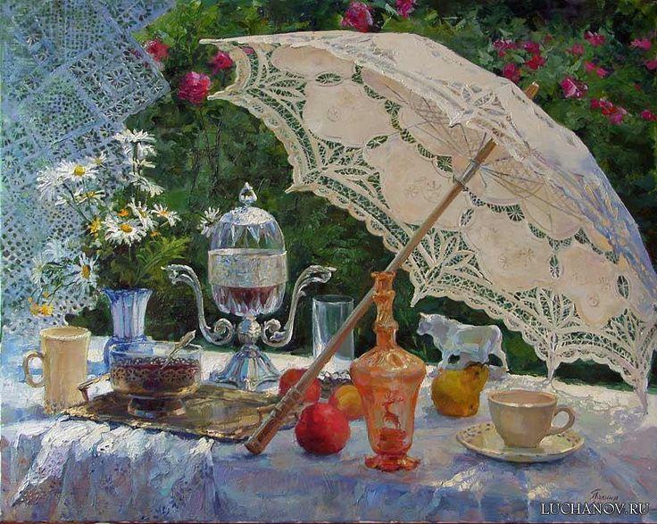Художник: Полина Лучанова. Натюрморт с зонтиком.