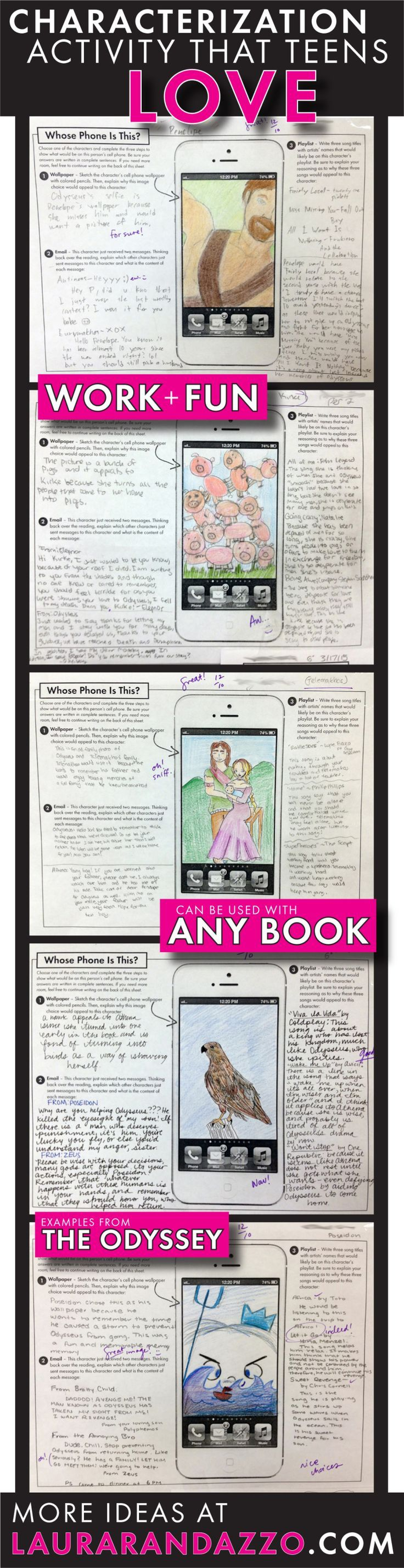 Incorporating technology and classic literature for middle school and high school students. This allows students to be creative and prove that they understand a character/text!