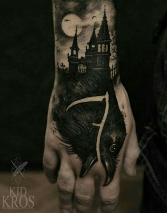 Cool tattoo crow with castle
