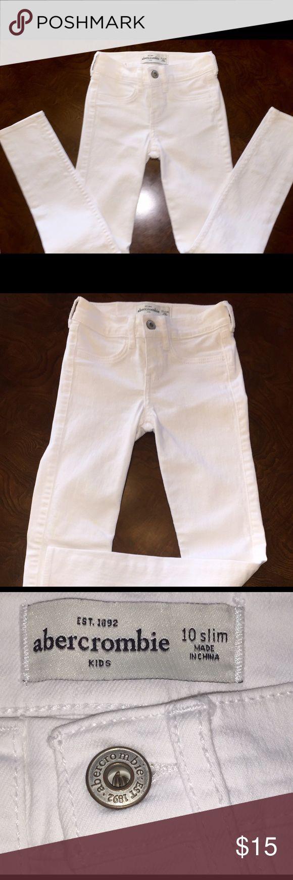 Girls Abercrombie Kids White Denim Jeans-10 Slim Like NEW white Denim Jeans 10 slim by Abercrombie Kids  WORN 1 time only Abercrombie Kids Bottoms Casual