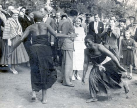 Women dance for the visiting British Queen Mother in 1953.  Bulawayo, Zimbabwe - then Rhodesia