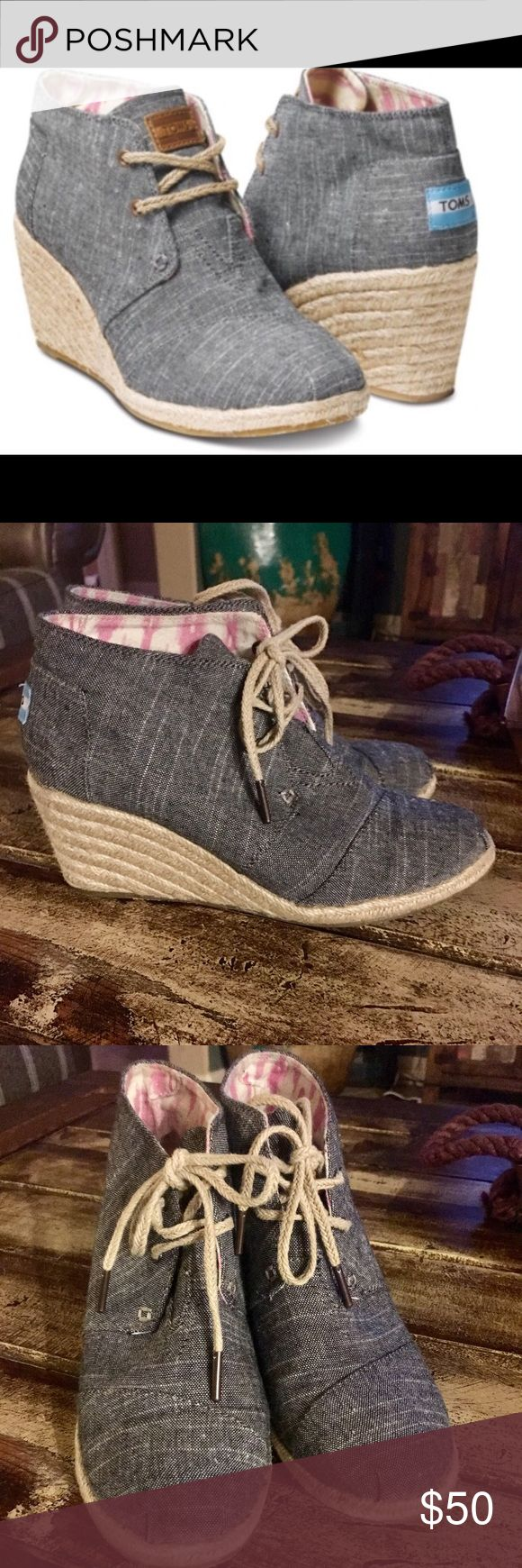 Toms Desert Wedges size 8 Toms Desert Wedges black Chambray size 8.  Only worn a couple of times.  Excellent condition.   No longer have the shoe box TOMS Shoes Ankle Boots & Booties