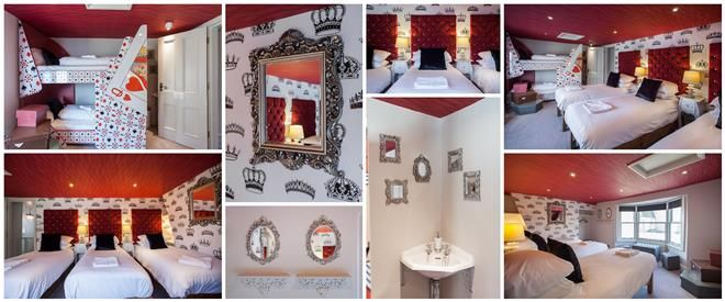 Love the crown wallpaper and the elaborate mirrors.  It would make for a great Queen of Hearts room or closet