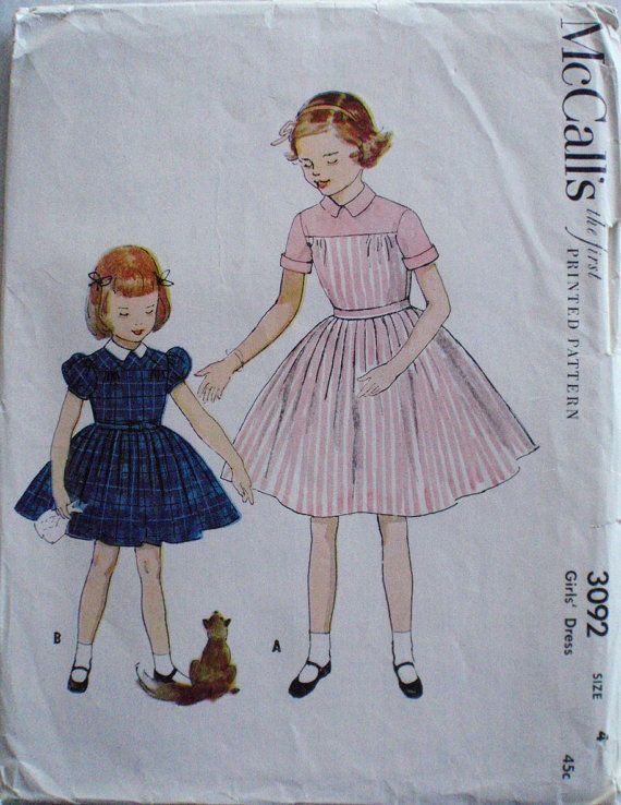Girl S Vintage Sewing Pattern Button Back Dress Mccall