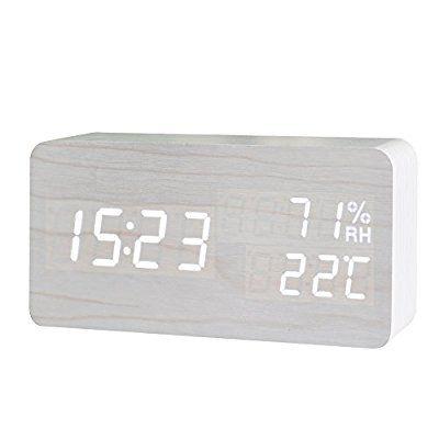 FiBiSonic® デジタル 置き時計 LED 目覚まし時計 大音量 アラーム カレンダー付 温度湿度表示 音声感知 USB給電 木目調 ナチュラル風 おしゃれ プレゼント(白・白字)