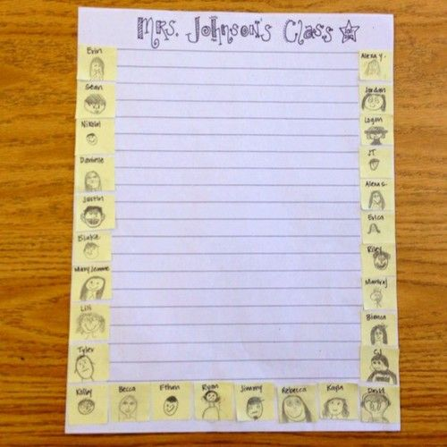 Class stationery! Give students Post Its and ask them to draw self