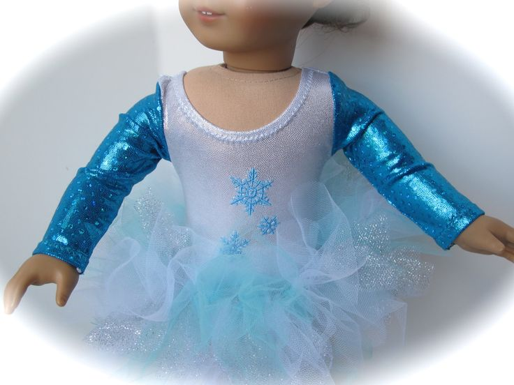 Blue And White Snowflake Leotard And Tutu For AG And 18 Inch Dolls - pinned by pin4etsy.com
