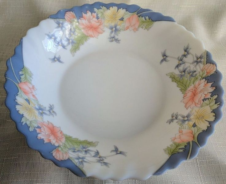 "Set of 2 Arcopal Florine Floral France Scalloped Rim Bowl 7"" Pink & Blue Floral 