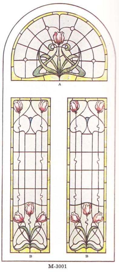 "Leaded glass designs published in millwork catalog in1921 by the Morgan Woodwork Organization and called ""Building with Assurance."""