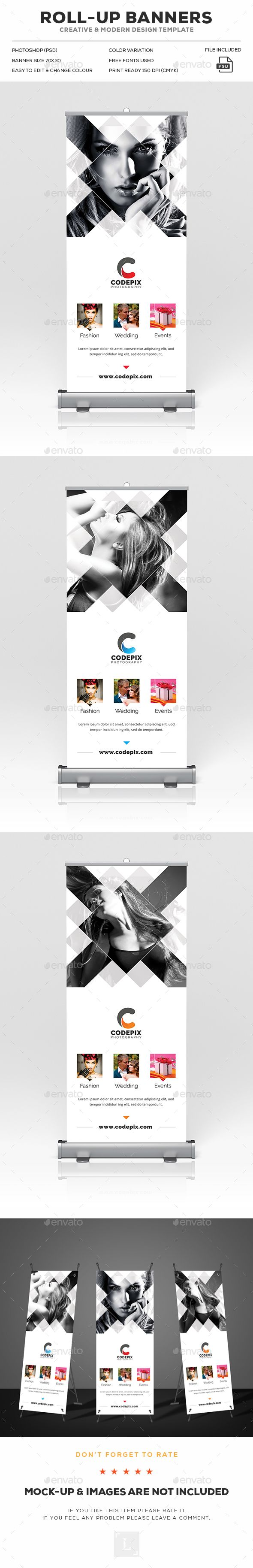 Photography Roll-Up Banner Template PSD. Download here: https://graphicriver.net/item/photography-rollup-banner/17049678?ref=ksioks